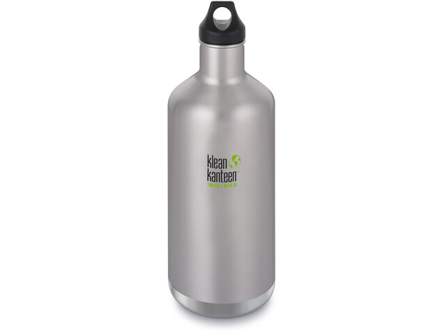 Klean Kanteen Classic Vacuum Insulated Bottle Loop Cap 1900ml Brushed Stainless